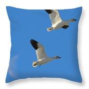 Snow Geese Moon Throw Pillow