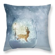 Snow Globe For Christmas With Reindeer Throw Pillow