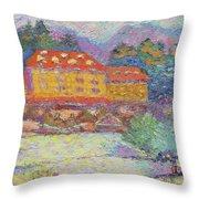 Snow Grove Park Inn Throw Pillow