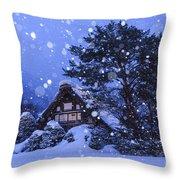 Snow, Historic Villages Of Shirakawa, Japan Throw Pillow