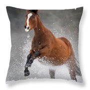 Snow Horse Throw Pillow