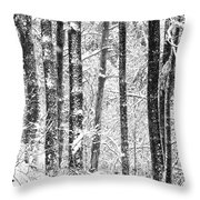 Snow In A Forest Throw Pillow