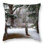 Snow In Pines Throw Pillow
