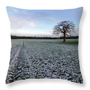 Snow In Surrey Countryside Throw Pillow