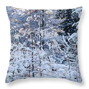 Snow In The Forest Throw Pillow