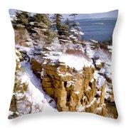 Snow In The Park Acadia Maine Throw Pillow