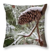 Snow In The Pines Throw Pillow
