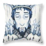 Snow King Slumbers Throw Pillow