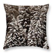 Snow-laden Forest Throw Pillow
