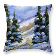 Snow Laden Pines Throw Pillow