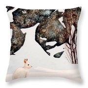 Snow Ledges Rabbit Throw Pillow