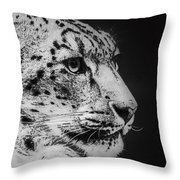 Snow Leopard Throw Pillow by Jeff Swanson