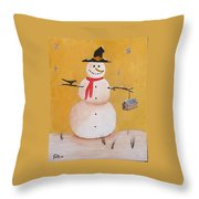 Snow Man And Bird House Throw Pillow