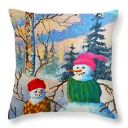 Snow Mom And Son Throw Pillow