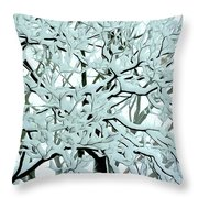 Snow On Branches Throw Pillow