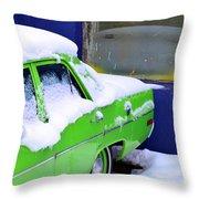 Snow On Car Throw Pillow