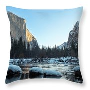 Snow On Large Rocks With El Capitan In The Background Throw Pillow