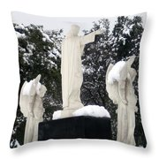Snow On The Angels  Throw Pillow