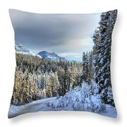 Snow On The Bow Valley Parkway Throw Pillow