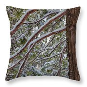 Snow On The Branches Throw Pillow