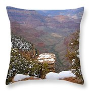 Snow On The Grand Canyon Throw Pillow