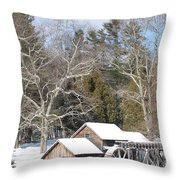 Snow On The Mill 2 Throw Pillow