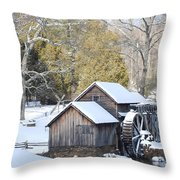 Snow On The Mill Throw Pillow