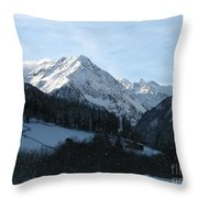 Snow On The Mountains Throw Pillow