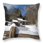 Snow On The Old Time Mill Throw Pillow