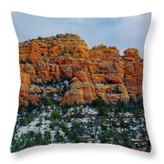 Snow On The Red Rocks Throw Pillow