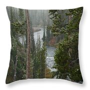 Snow On The Yellowstone River Throw Pillow