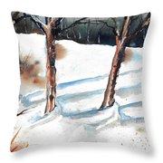 Snow Orchard Throw Pillow
