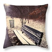 Snow Park Bench Throw Pillow