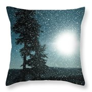 Snow Particles Back Light Throw Pillow