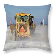 Snow Plowing Throw Pillow