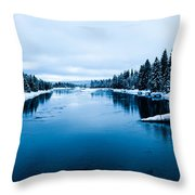 Snow River Horizon Throw Pillow