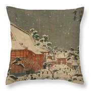 Snow Scene At Sens Ji Temple At Kinry Zan In The Eastern Capital Throw Pillow