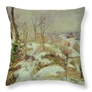 Snow Scene Throw Pillow by Camille Pissarro
