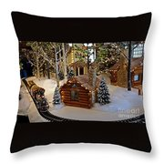 Snow Scene With Train Throw Pillow