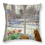 Snow Shadows And Cat Throw Pillow