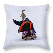 Snow Sports That Can Be Done With Your Dog Throw Pillow