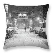 Snow Storm In Chinatown Boston Chinatown Gate Black And White Throw Pillow