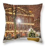 Snow Storm In Faneuil Hall Quincy Market Boston Ma Throw Pillow