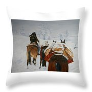 snow storm in the Rockies Throw Pillow