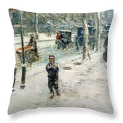 Snow Storm On Fifth Avenue Throw Pillow