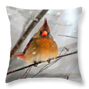 Snow Surprise Throw Pillow by Lois Bryan