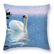 Snow Swan Swim Throw Pillow