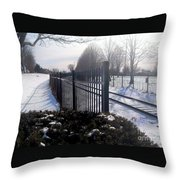 Snow Tracks At Waterfront Park Throw Pillow