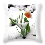 Snow Tulip Throw Pillow