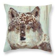 Snow Wolf Throw Pillow